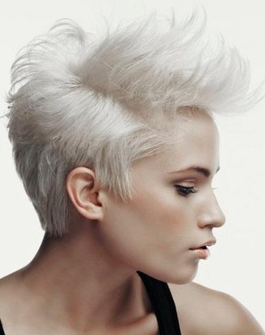 Short Platinum Blonde Mohawk Hair Style 2014