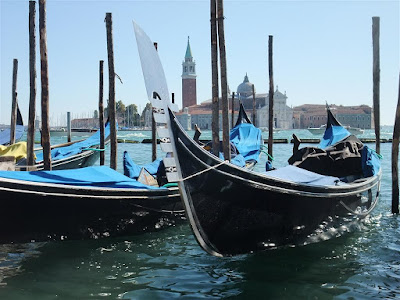 famous gondola, shore, venice italy, grand canal