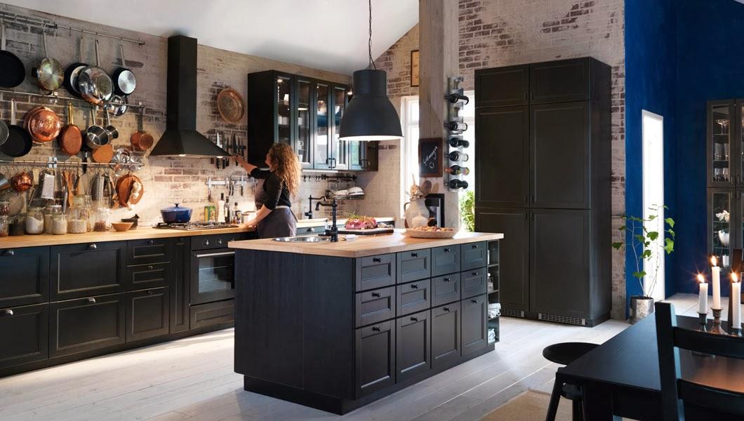 Gratt Klinkergolv Kok : kok svart  morkt IKEA kok med bonkskivor i massivt tro och svart