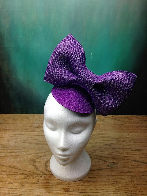 glitter bow fascinator large purple quirky kitsch bespoke gg's