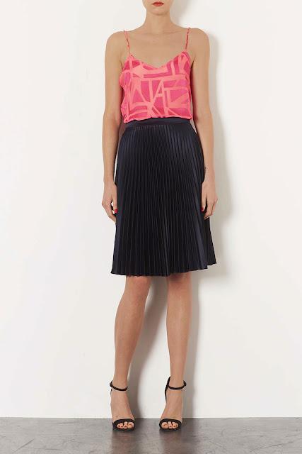 Topshop Navy sunray pleat skirt