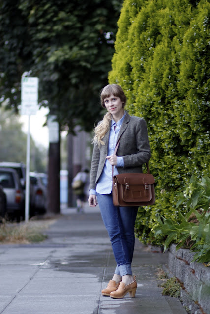 Melanie Maltray leather Messenger bag Seattle Street style clogs