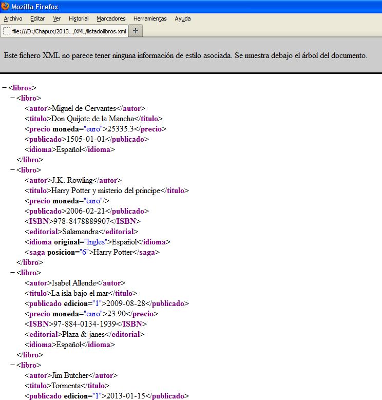 XML visto en Firefox