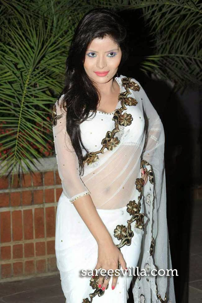 Actress Gehana Vasisth In White Saree