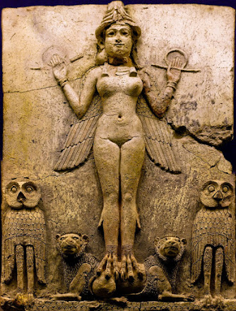 Inanna-Ishtar (prostituta sagrada asociada al templo, diosa del Amor y la Guerra)