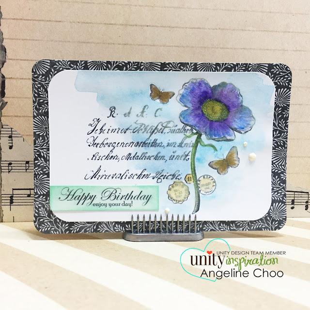 ScrappyScrappy: Happy birthday card #scrappyscrappy #unitystampco #gracielliedesign #card #gansaitambi #watercolor