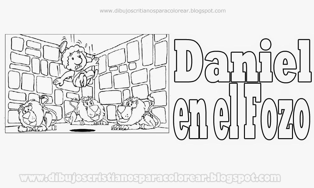 Daniel en el fozo de los leones para colorear - Dibujos Cristianos ...