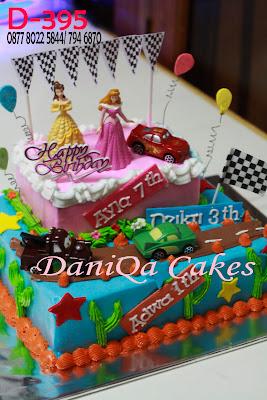 Princess and Cars birthday Cake