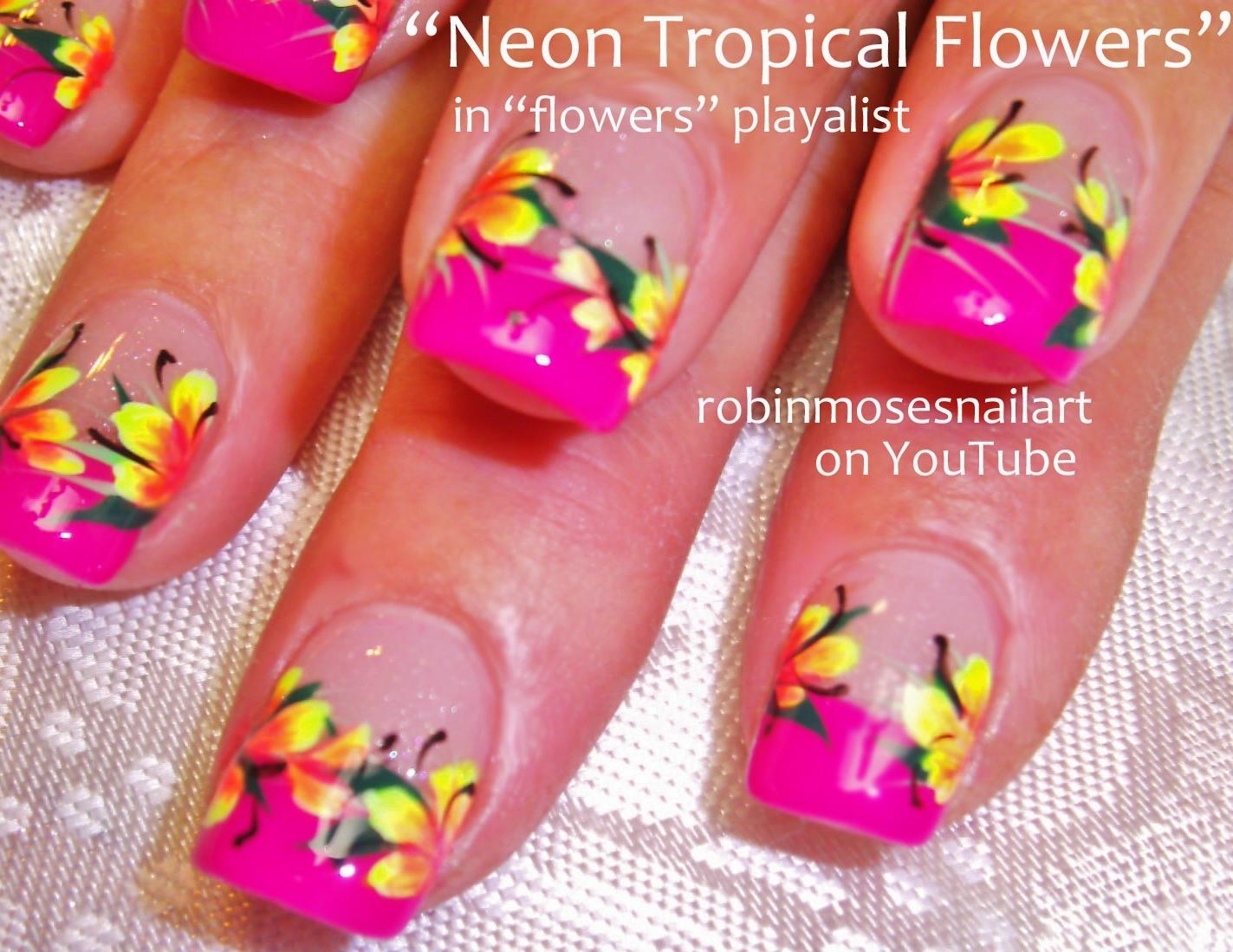 Neon Bright Spring Flower Nail Art!, Neon Rainbow Nails! Flower ...