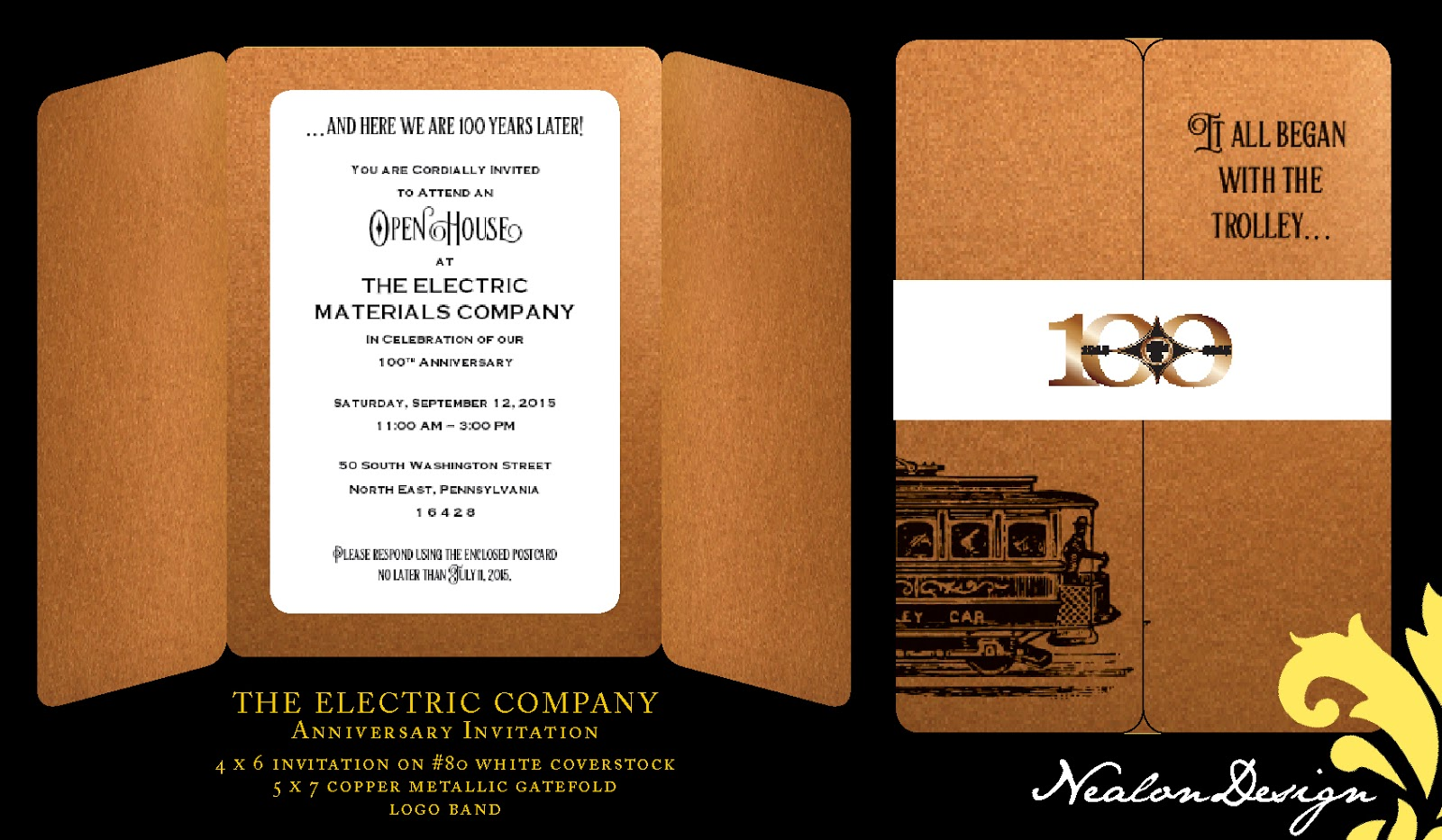 Nealon design electric materials company 100th anniversary i was asked to design an anniversary invitation for the electric materials company celebrating an impressive 100 years the client liked my family tree stopboris Images