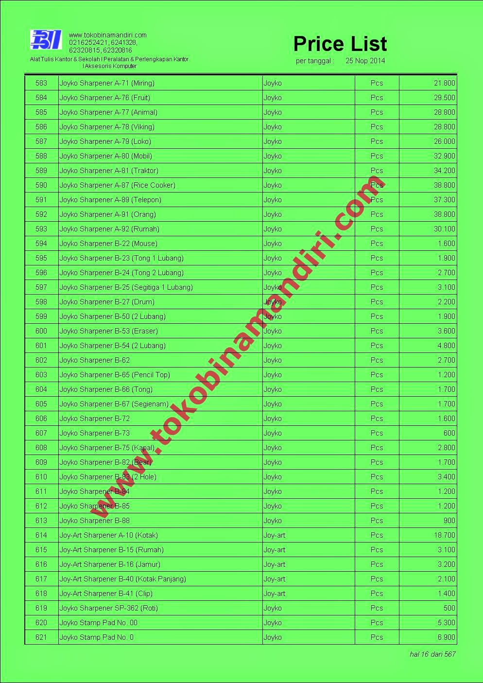 Daftar Harga Alat Tulis Kantor Murah 2015