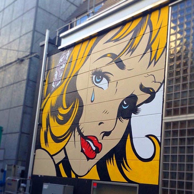 New Street Art Piece By British Stencil Artist D*Face in Shibuya, Tokyo, Japan. 1