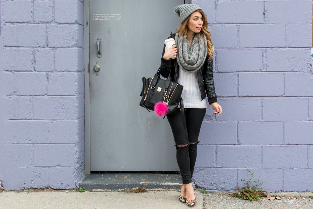 leather jacket layering winter outfit