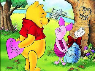 Wallpaper Winnie The Pooh dan Piglet Bermain Hujan