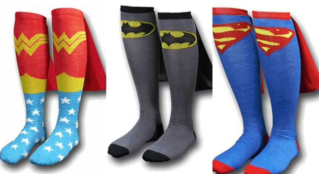 SUPER HERO SOCKS WITH CAPES - UNIQUE UNUSUAL OR INTERESTING: SUPER HERO SOCKS WITH CAPES