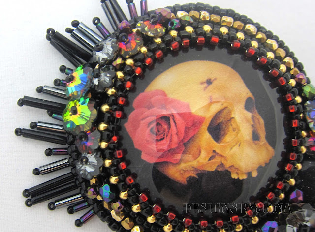 Skull and Rose Brooch