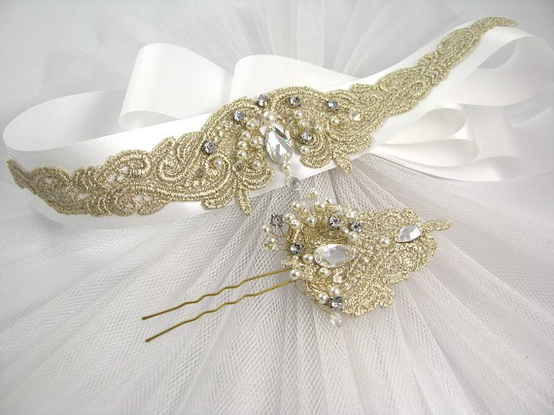 Koronka na suknię ślubną - złoty pas biżuteryjny