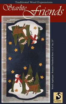 "Starlight Friends Wool Applique Runner 11.5"" x 25"""
