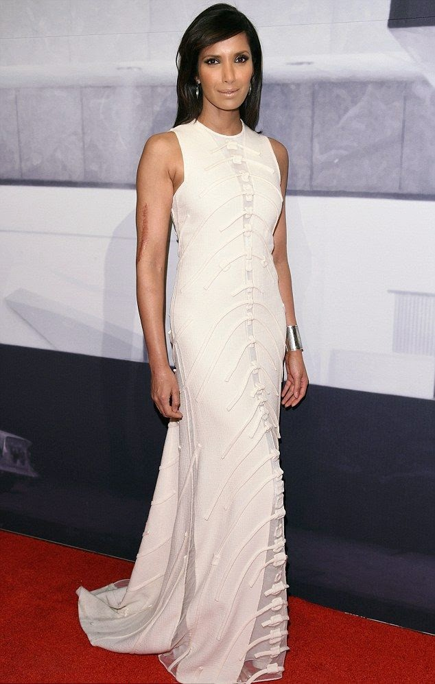Three amazing value of fashion design in two days! Padma Lakshmi flaunted her ethereal and elegant point in a long white gown by Ralph Rucci at the 2014 Whitney Gala at the Breuer Building in New York City on Wednesday, November 19, 2014.