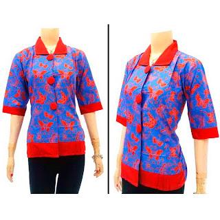 DBT2564 - Baju Bluse Batik Wanita Terbaru 2013