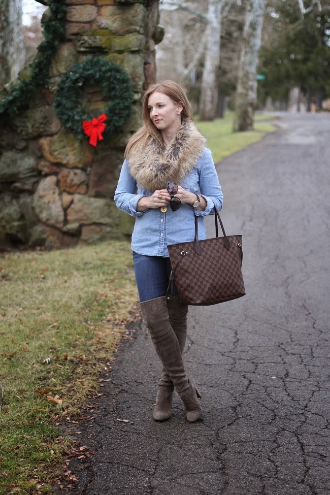 jcrew chambray shirt, jcrew jeans, louis vouitton neverfull, stuart weitmanz highland boot, saint laurent sunglasses