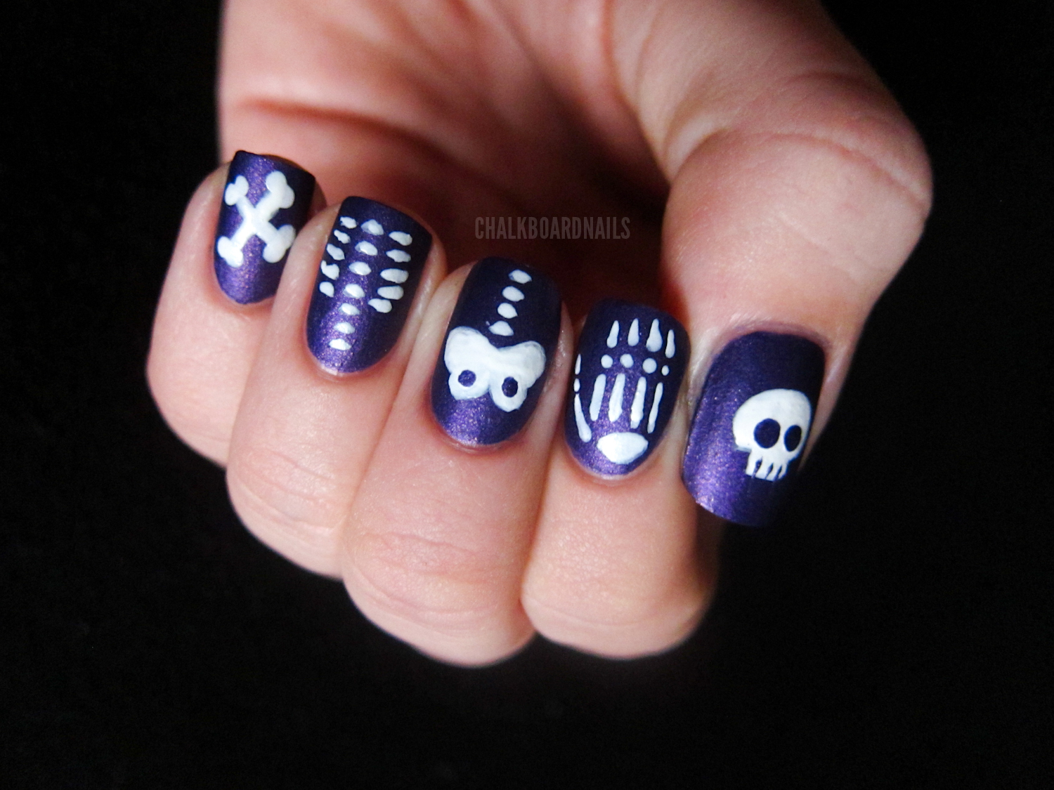 crossed bones, ribcage, pelvis, hand, skull - Skeleton Skittle Chalkboard Nails Nail Art Blog