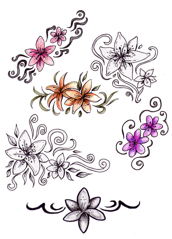 Star-and-Flower_tattoos