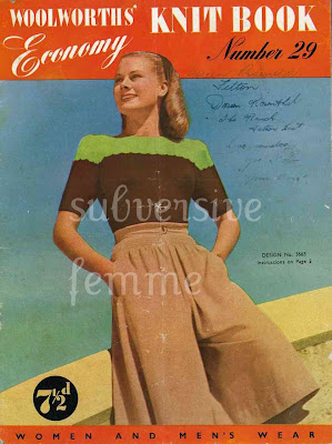 1940's Knitting - Woolworths Economy Knits Jumper pattern