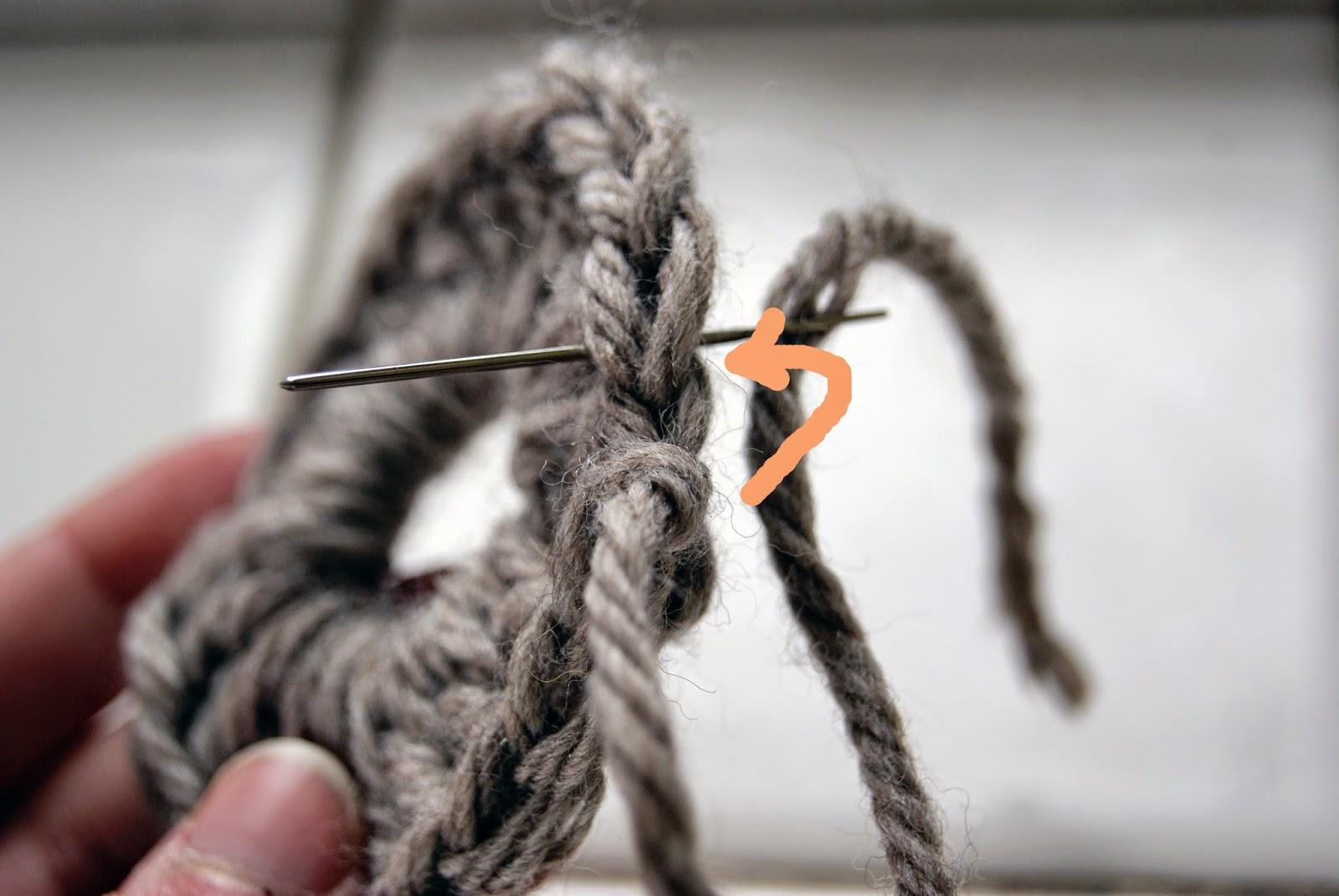 finition tricot crochet étape 1