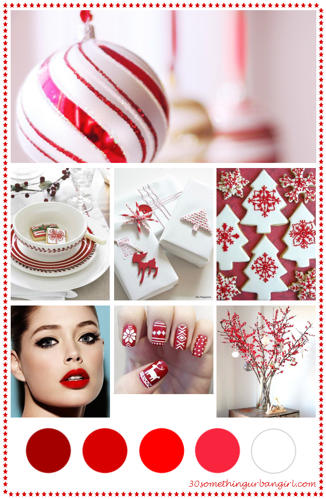 red and white Christmas color palette inspiration