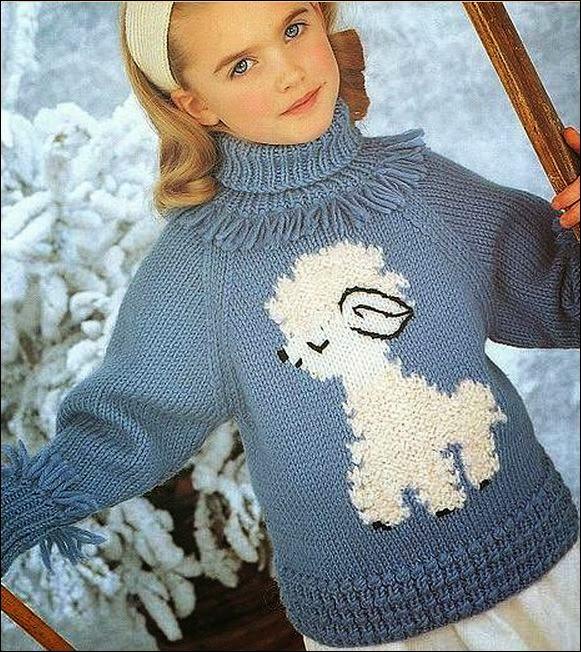 Sweater para niña | Crochet y Dos agujas - Patrones de tejido