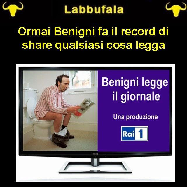 Benigni, share, sfottomontaggio