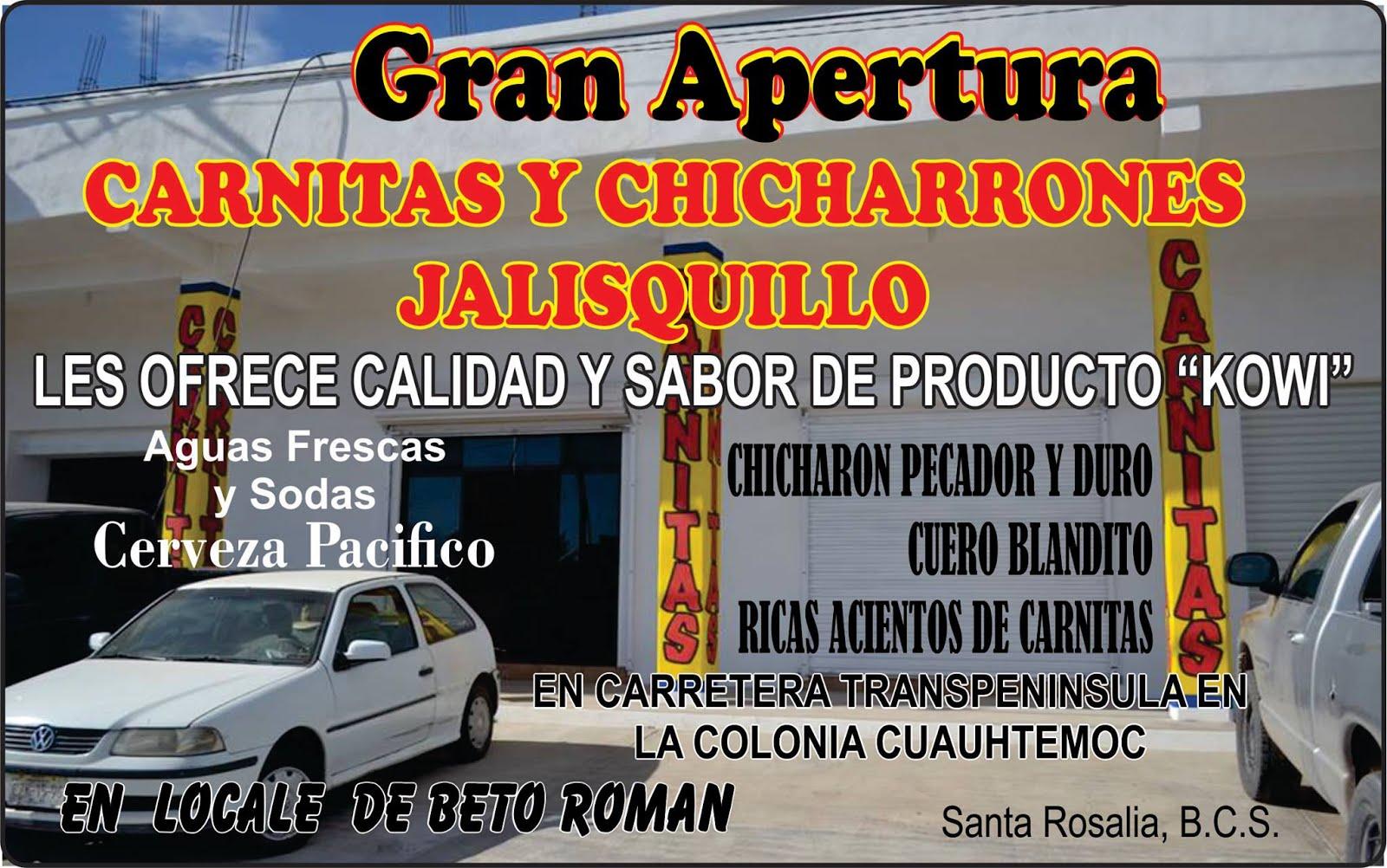 """CARNITAS Y CHICHARRONES """"JALISQUILLO"""""""