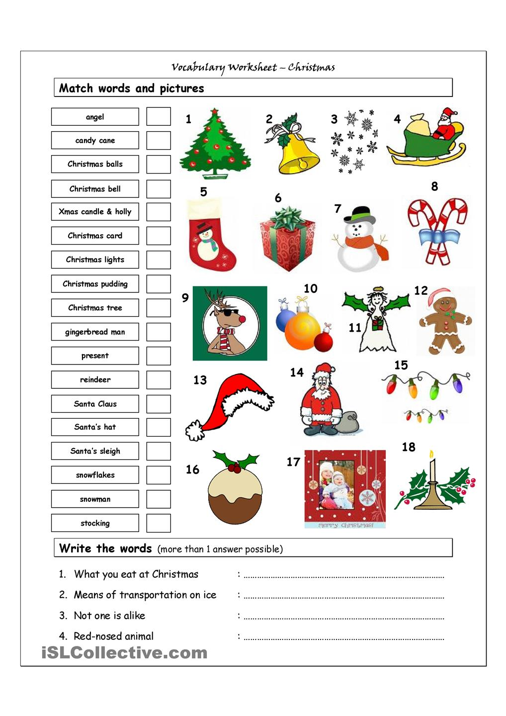 Worksheet Christmas ~ English at Lernforum Chur