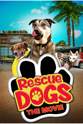 Rescue Dogs The Movie poster featuring two dogs and a cat behind black paw