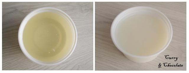 Manteca blanca antes y después de cuajar