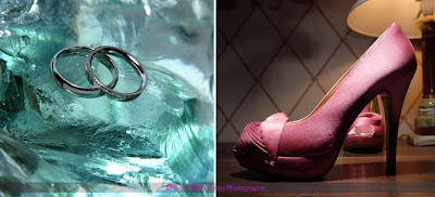 Details of the wedding rings and the brides shoes