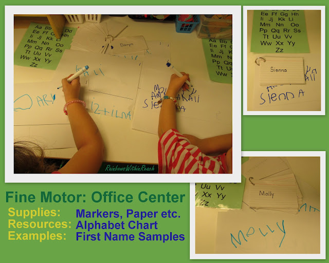 "photo of: Fine Motor Center ""Playing Office"" by Writing Friend's names"