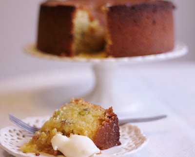 Lemon and pistachio polenta cake (gluten free) with extra thick double cream