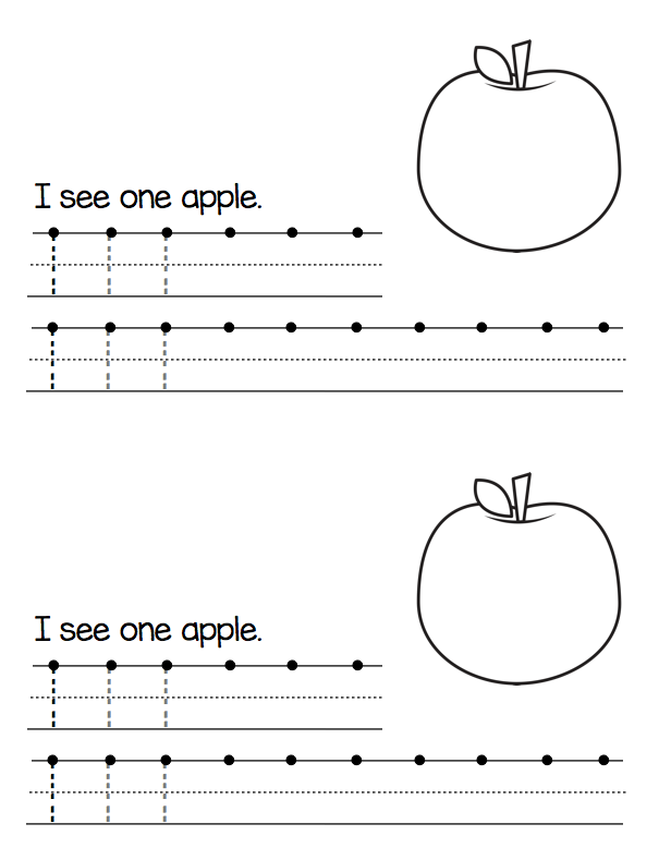 FREE apple theme handwriting book for printing numbers