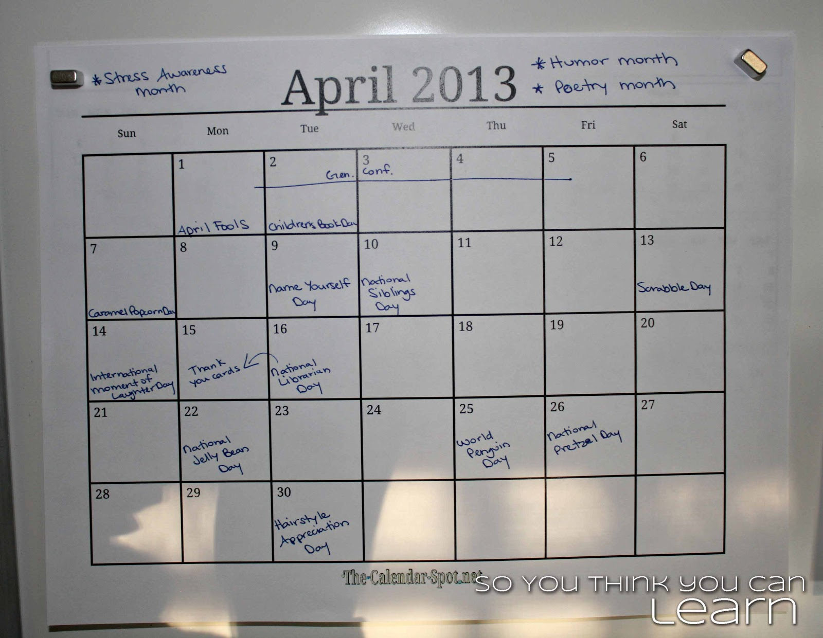 Calendar Spot April : So you think can learn may holidays