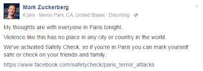 Kiriman Mark Zuckerberg di Facebook tentang pengaktifan fitur Safety Check Facebook