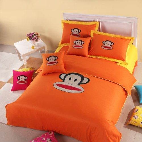 Brand New Paul Frank Orange Comforter Set, Queen, 4Pcs