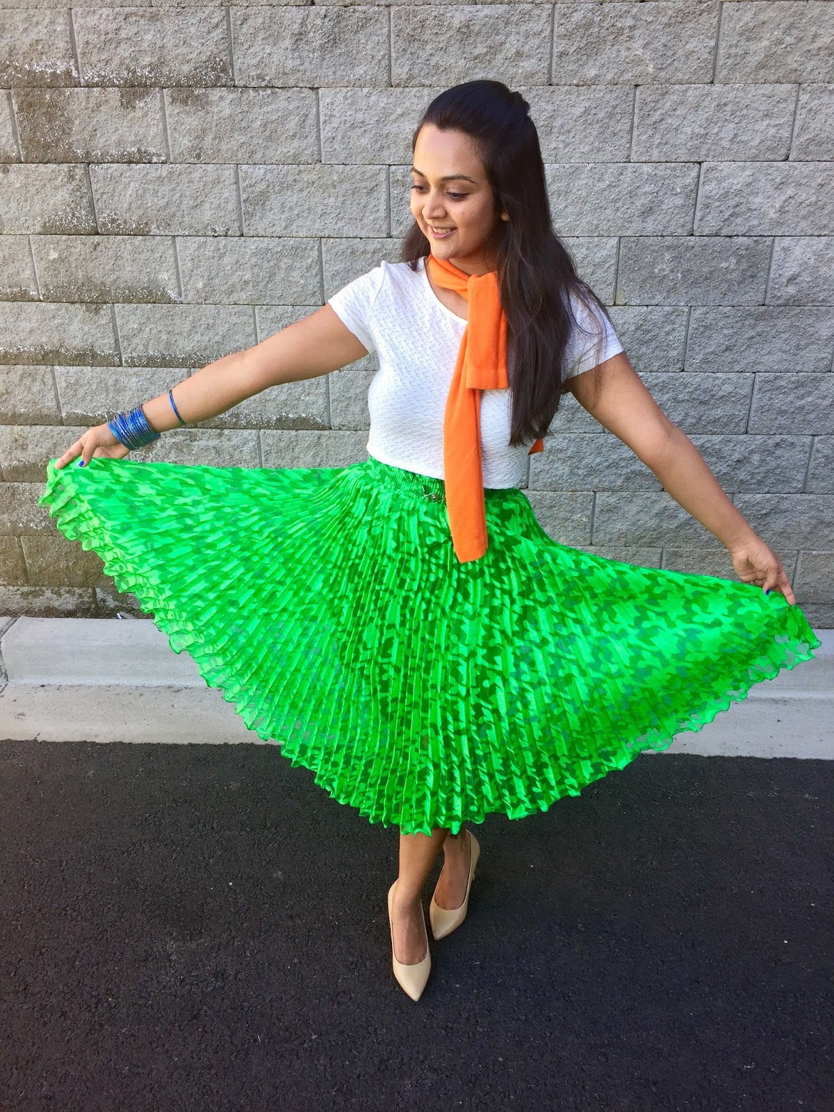 Color blockin outfits, tricolor outfits, green skirt with white top and nude heels,Indian Independence day outfit ideas,