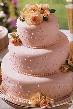 pink fondant wedding cake