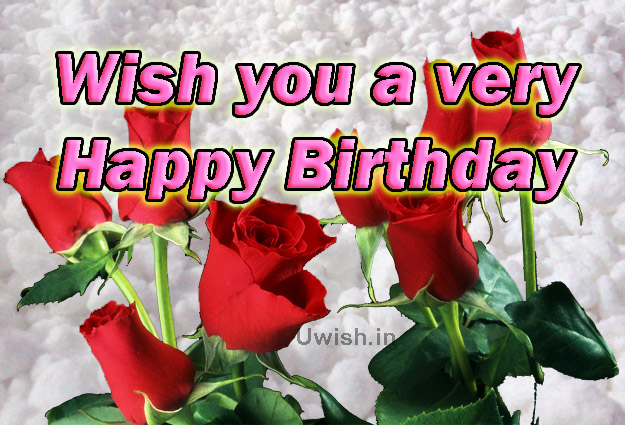 Wish you a very Happy Birthday with red roses on the snow  Happy birthday e greeting cards and wishes.