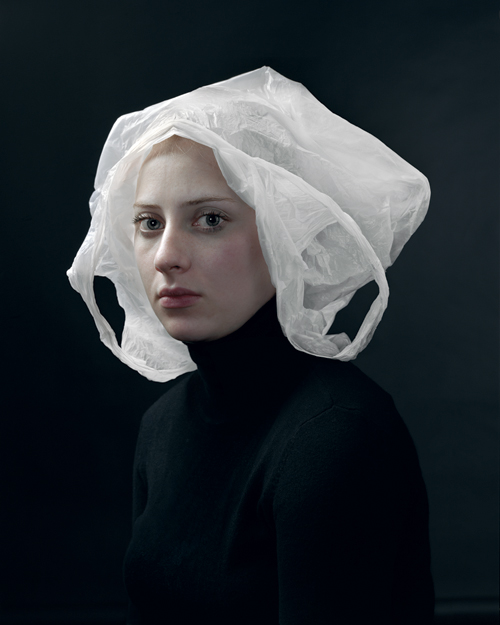 Photo by Henrik Kerstens, girl wearing a white plastic bag on her head