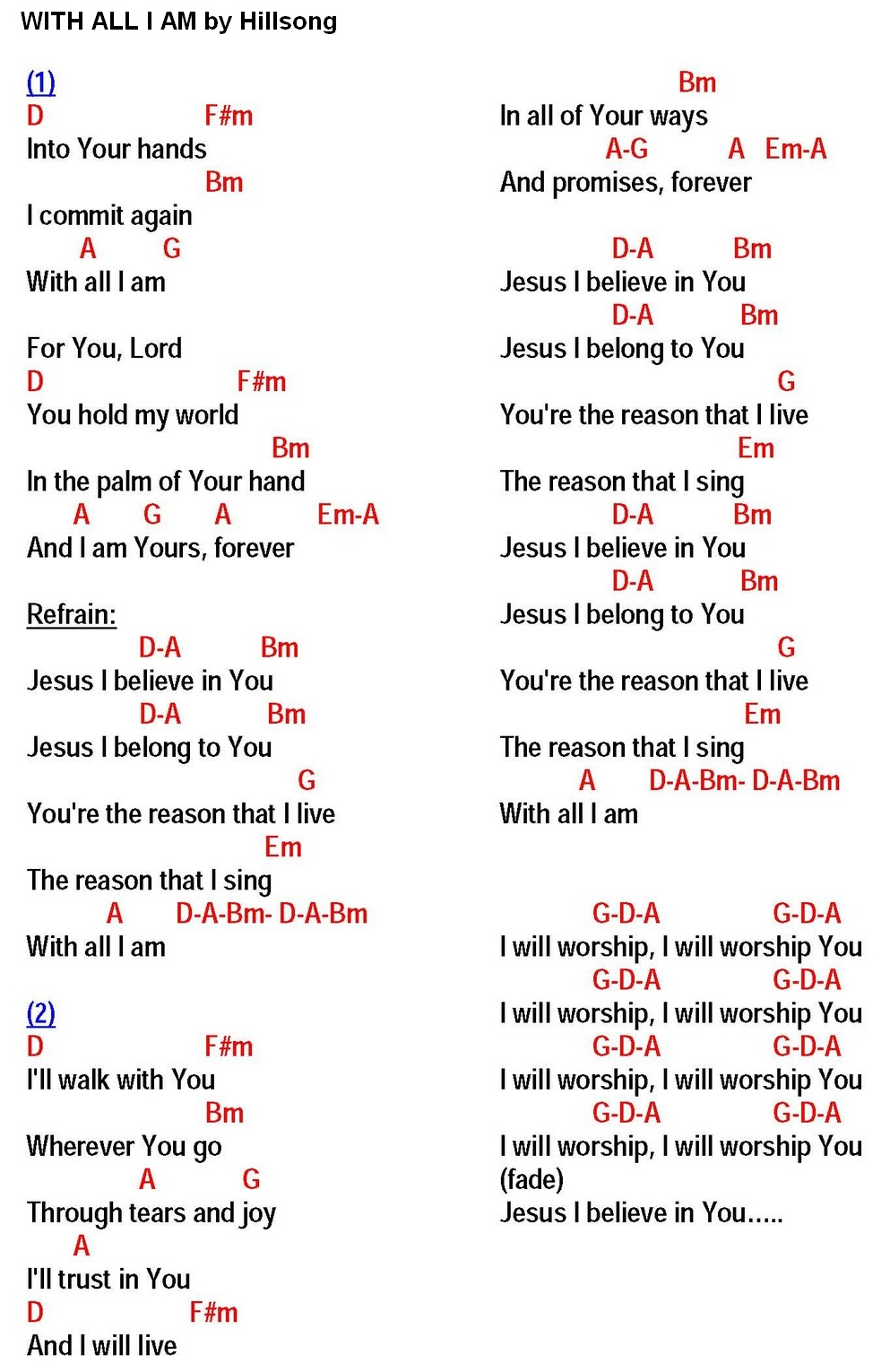 With all i am hillsong lyrics and chords sing and praise click on lyrics chords to enlarge or print hexwebz Image collections