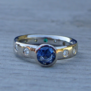 sapphire moissanite ring