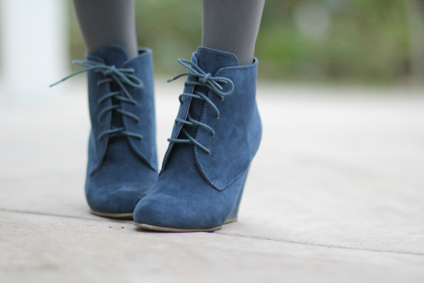 blue suede lace up wedges
